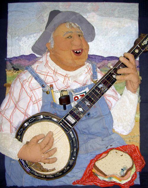 """06. Banjo Player (48"""" x 60"""" x 12"""") $10,000"""